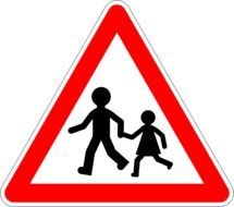 Traffic sign with the children clipart