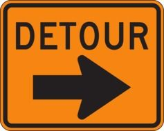 detour sign drawing