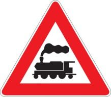 Railway crossing, traffic sign