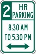 Green parking road sign