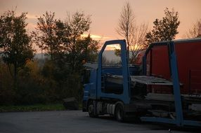 Picture of the truck at the sunrise