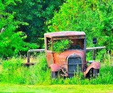 abandoned antique car