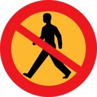 prohibition sign on walking pedestrians