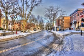 winter road usa street