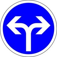 picture of blue go left or right roadsign