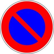 no parking, red and blue traffic sign