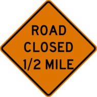 road close 1'2 mile sign drawing