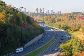 panoramic view of a freeway in toronto in the fall