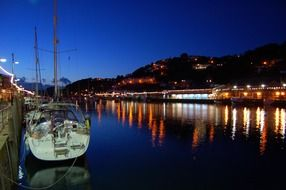 harbour boat at night