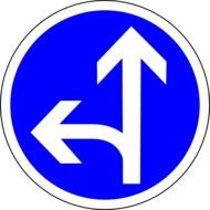 picture of blue go straight or left roadsign