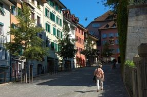 colorful buildings at old street, switzerland, bremgarten