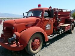 old red firetruck outdoor