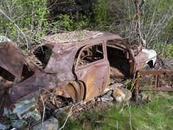 Old abandoned rusty car