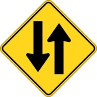 """Two-way traffic"" road sign"