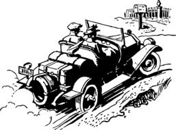 drawing of a vintage coupe