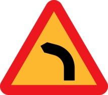 road sign about dangerous turn left