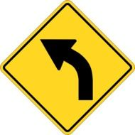 square yellow turn sign