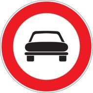 prohibition sign depicting a black car