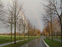 road after rain and double rainbow in sky