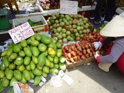 street selling fruit in Vietnam
