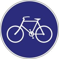 bicycle on a blue circle