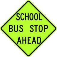 traffic sign about school bus stop