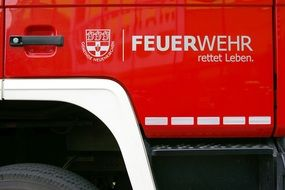 inscription on the fire truck