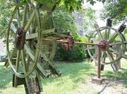 old wooden paddle wheels