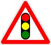 warning traffic sign about traffic light