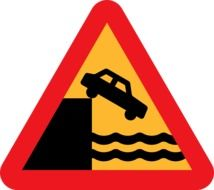 """Cliff ahead"" traffic sign"