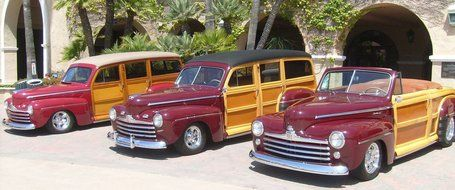 three oldtimer cars on parking, ford super deluxe woodie