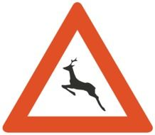 warning sign with a deer