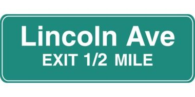 road information lincoln ave exit 1/2 mile