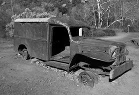 retro photo of old broken truck