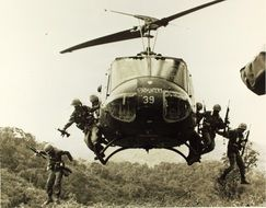 military helicopter bell uh-1 of a vietnam war