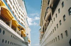 two cruise liners in harbor closeup