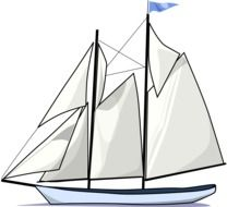 sailing boat with two masts, drawing