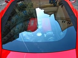 windshield on a red car