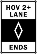 """Ending of the HOV 2+ Lane"" sign clipart"