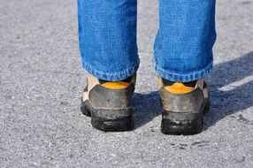 legs road shoes jeans feet