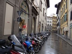 motor scooters along the street in florence