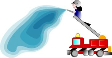 fireman on a fire truck, cartoon drawing
