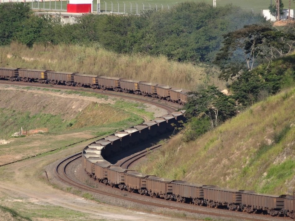 long cargo train on Estrada de Ferro Central do Brasil railroad, brazil