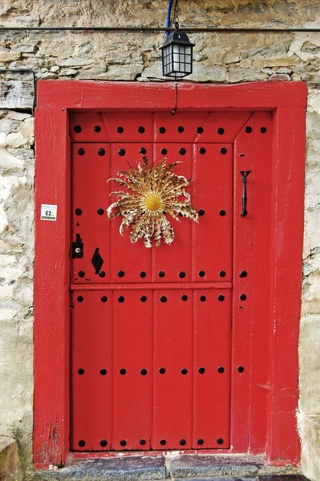 dry big flower on the red front door