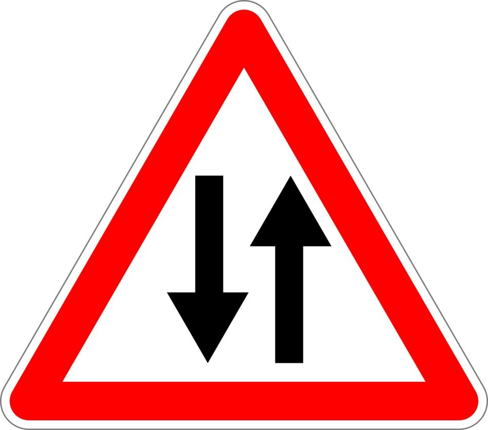 road sign about a two-way traffic