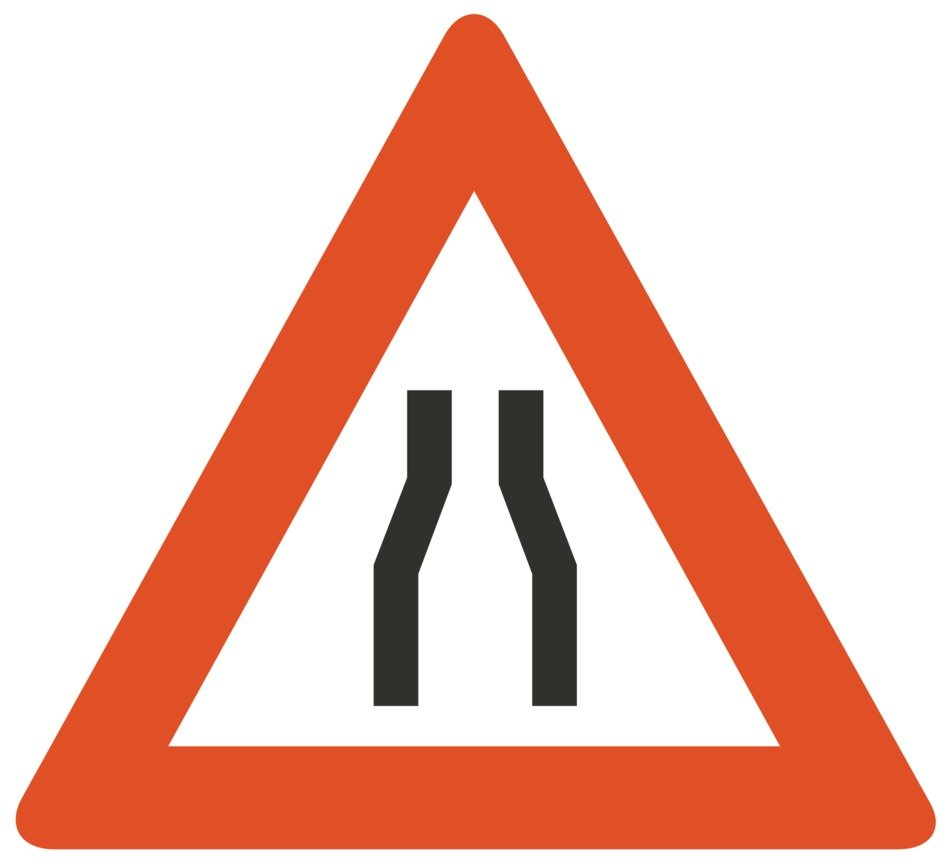road sign for road narrowing