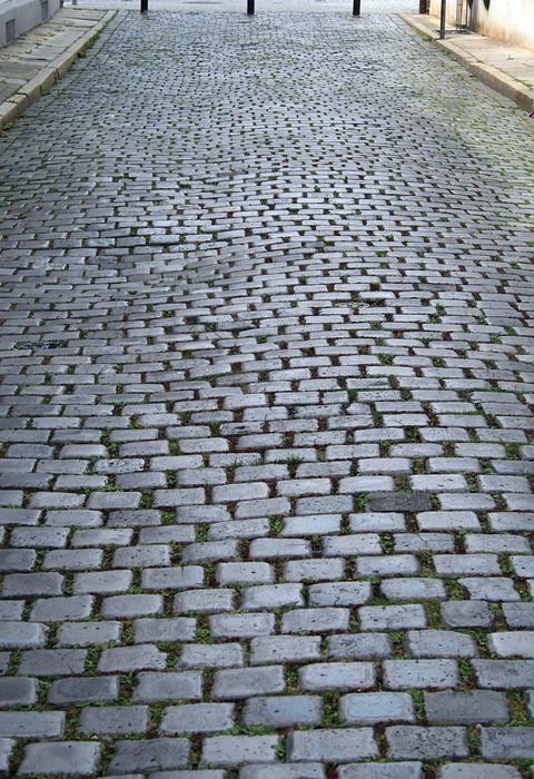 old paving stones on alley