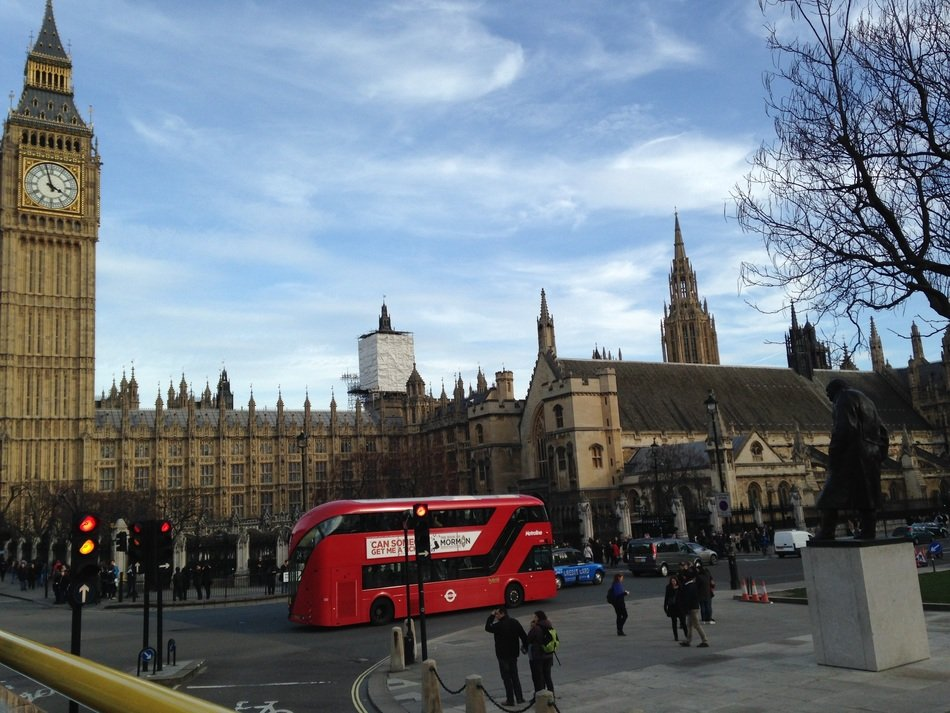 red bus on london street