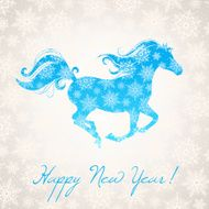 new year horse and snowflakes N2
