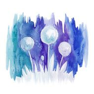 Watercolor blue drawing abstract flowers